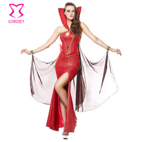 Women Gothic Carnival Party Red Vinyl Devil Queen Fancy Long Dress Cosplay Vampire Costume Halloween Sexy