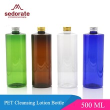 Sedorate 30 adet/grup Yüksek Kaliteli Plastik PET 500 ML Doldurulabilir Şişe Kozmetik Sökücü alüminyum kapaklı şişe JX018