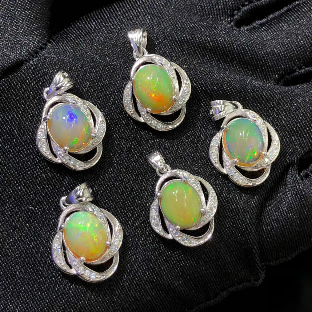 Oval Cut 8X10MM Opal Jewelry Pendant Healing Stone Pendant Charms Real Opal Crystal Flower Pendant in