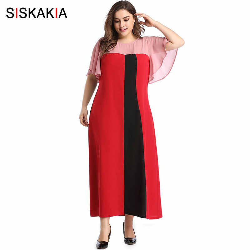 Siskakia Summer 2019 Maxi Dresses Elegant office Ladies Plus Size Dress  Ankle-Length Fashion Color Block Large Size Clothes Red