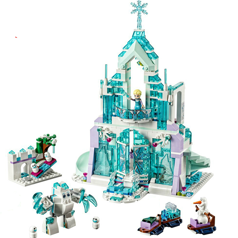25002 731 PCS Model Building Blocks Kits Girl Friends Elsa Magic Ice Castle Palace Bricks Figure Compatible with Legoe 41148 lepin 25002 731pcs the snow world series the elsa s magical ice castle set building blocks bricks toys girl with gifts 41148