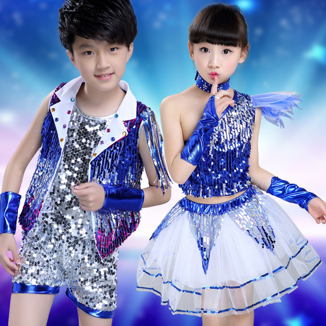 8504f42e9c Children's DJ Performance Jazz Dance Costumes Girl and Boy Hip Hop Dance  Clothing Modern Dance Performance DS Dance Custome-in Chinese Folk Dance  from ...