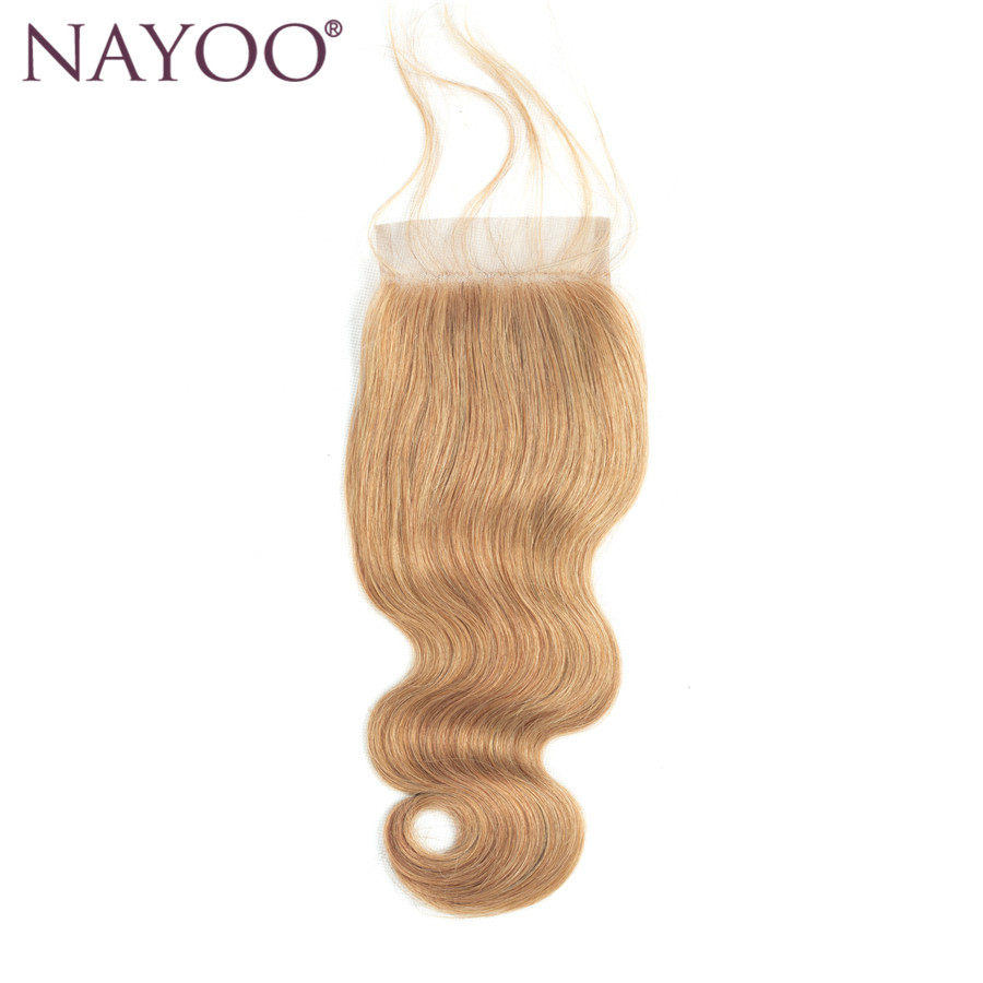 NAYOO Brazilian Body Wave Closure 100% Human Hair Lace Closure 10-20 Non Remy Hair 130% Density Swiss Lace #27 Color