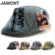 NEW JAMONT Men Women Cotton Denim Sunshade Caps Casual Unisex Embroidery European Trendy Style Caps With Zipper 4 Seasons