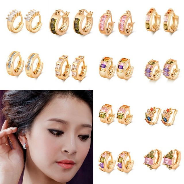 Whole Europe Brand Cube Cubic Zirconia Women High Quality Hoop Huggie Leverback Earrings Various Style