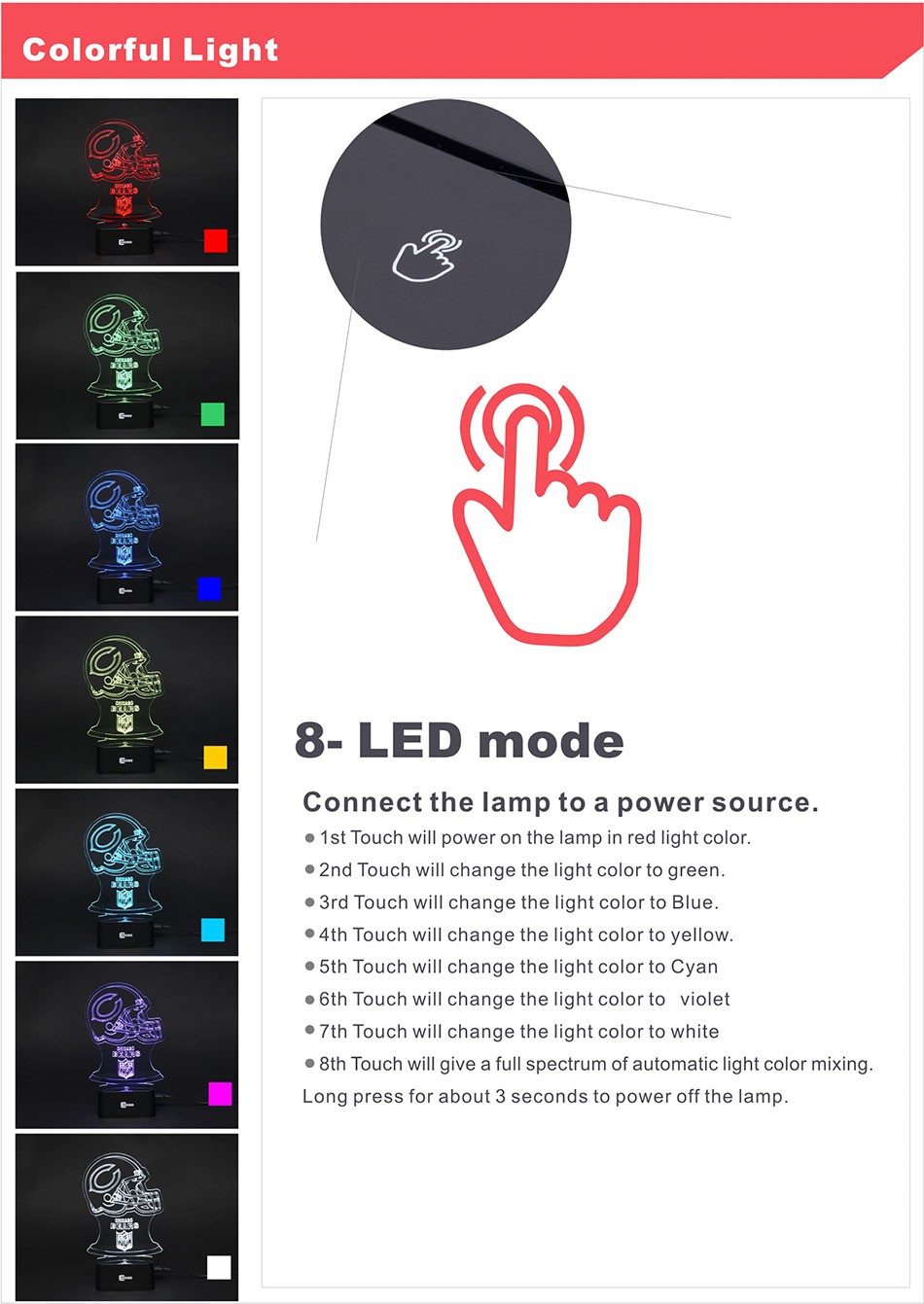 7 Colors Changing Chicago Football Led Lamp Bear 3D Night Light for Soccor Fans as Home Decor USB Table Nightlight Bedroom Children Sleeping Lampara (2)