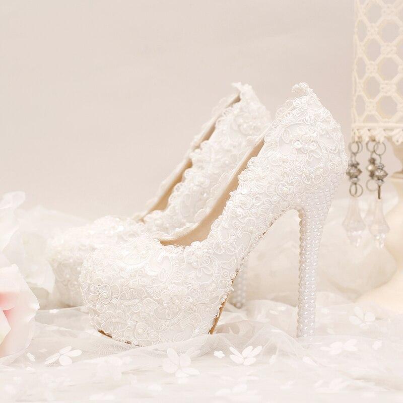 Perlé forme Talon Chaussures Fleur De Broderie Plate Femme Talons Pompes Sexy Blanc Mariage 14cm Gullick Pour 2018 Perles Dentelle Haute XxqTzBBf