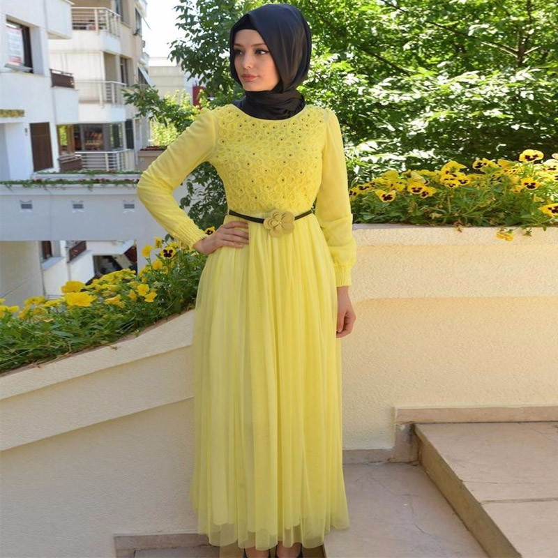2017 Fashion Muslims Islamic Prom Dresses With font b Hijab b font Yellow ColourTurkish Long Sleeve