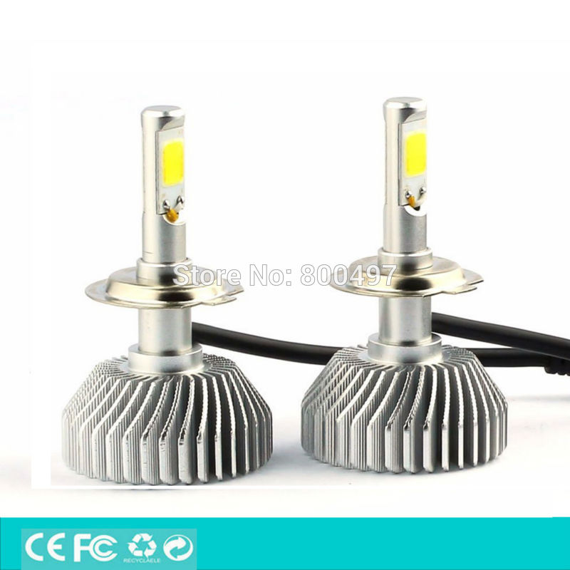 ФОТО Newest Design H7 LED COB High Power 40W 2700lm 5000k Super White Headlight Fog Light Kit For Tesla Hoda BMW