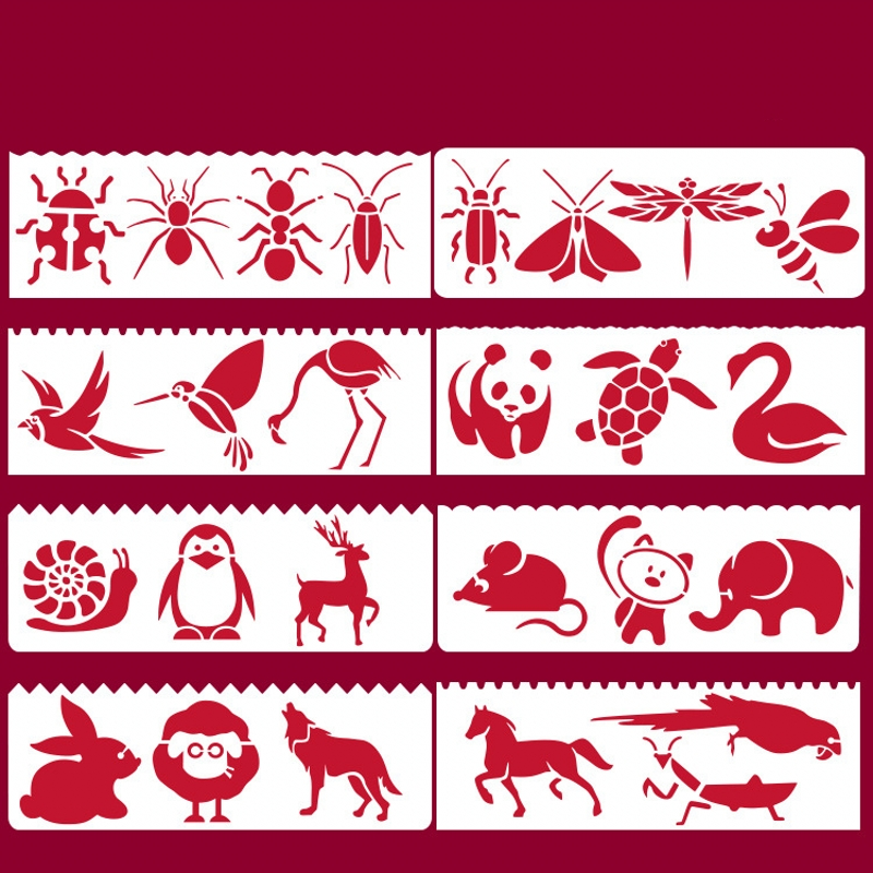 8Pcs 17*6cm Animals Birds Insect DIY Layering Stencils Painting Scrapbook Coloring Embossing Album Decorative Card Template