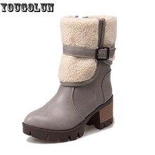 YOUGOLUNฤดูหนาวผู้หญิงกลางลูกวัวบู๊ทส์หิมะแฟชั่นเลดี้สแควร์รองเท้าส้นสูง(7เซนติเมตร)บู๊ทส์ผู้หญิงหัวเข็มขัดสีดำสีเทาสีน้ำตาลรองเท้านิ้วเท้ารอบ