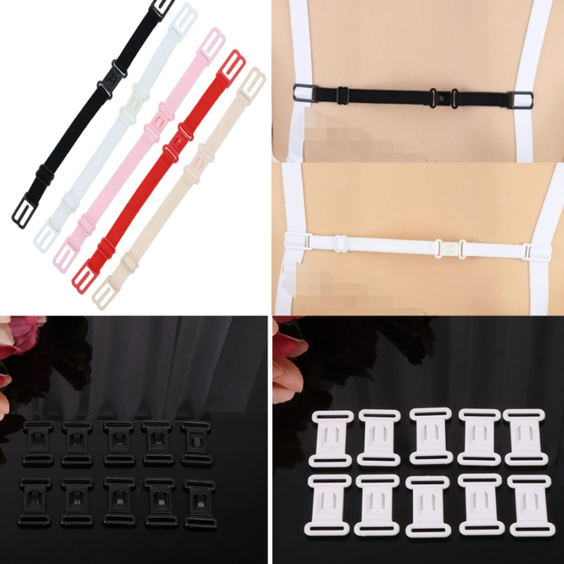OOTDTY 10pcs High Quality Craft Plastic Tape Closure Hook & Clasp Fasteners Sew on Clothes Bra
