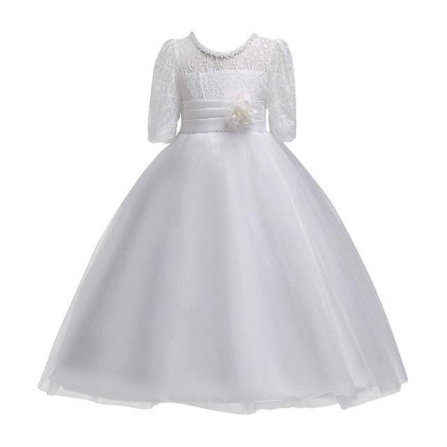 VOGUEON 王女のウェディング十代のドレス夏半袖フラワーガールのイブニングホワイトロングドレスレースパーティーエレガントなページェント Gala ガウン