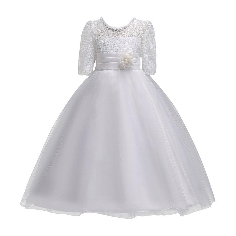 Vogueon платье принцессы на свадьбу; платье для девочек подростков летние с коротким рукавом для девочек в цветочек вечернее белое длинное платье со шнуровкой вечерние элегантный праздничный гала Концерт Платье-in Платья from Мать и ребенок