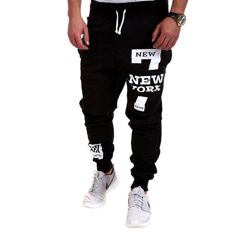 M-3XL Men's Autumn Letter Print Sweatpants Men's Hip Hop Casual Mid-rise Straight Leg Trousers