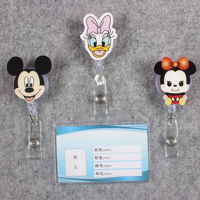 شفافة PVC شارة التمرير ممرضة بكرة الطابع قابلة ألوان لطيف بطة ماوس ممرضة المعرض ID البلاستيك المدرسة حامل بطاقة