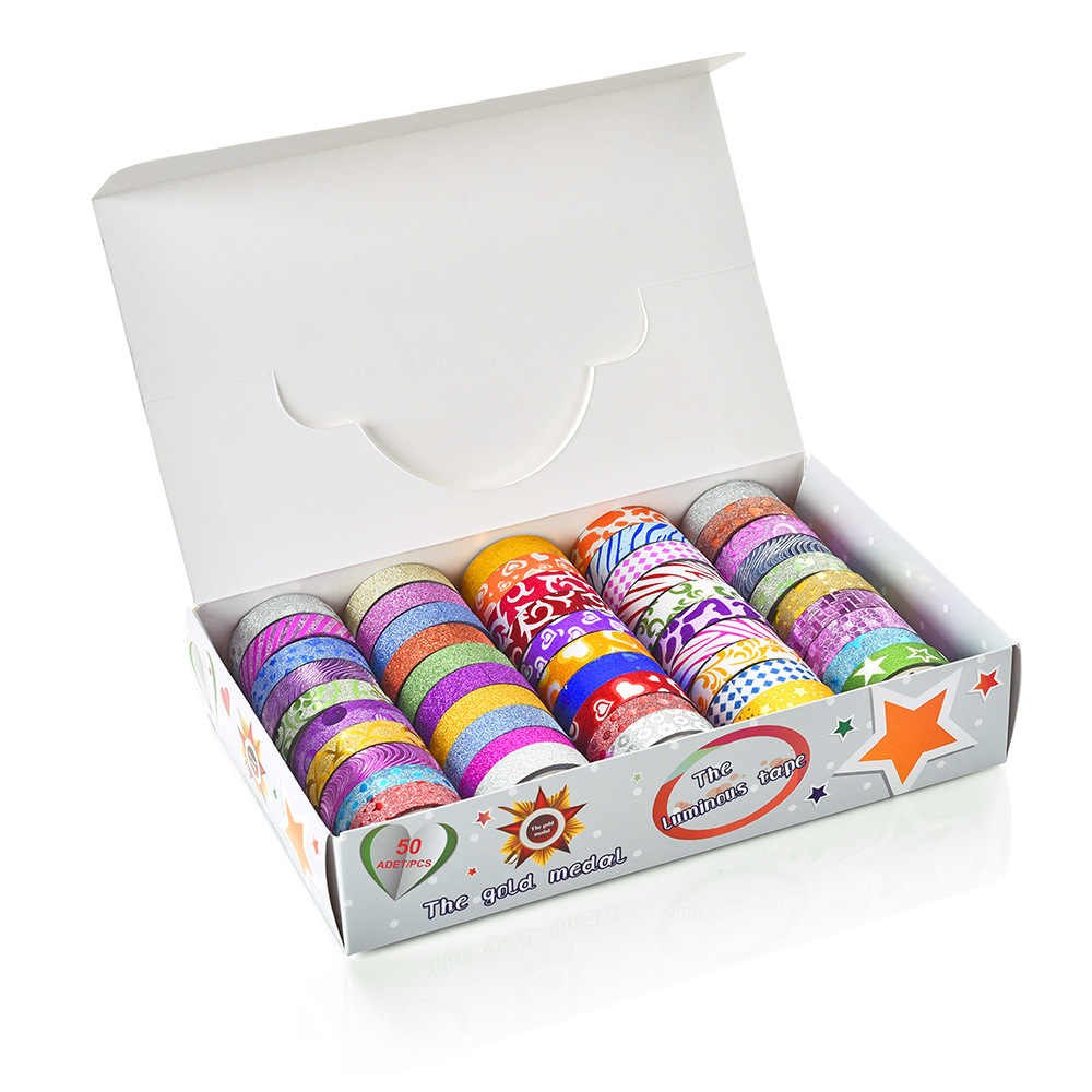 Juego de 50 unidades de cinta washi, cinta adhesiva brillante washitape Kawaii, papelería creativa, papelería, pegatinas de lavado, scrapbooking