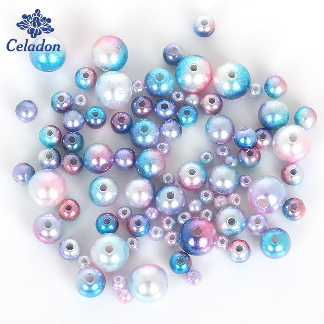 Promotion! 4 6 8 10mm Multicolor ABS Pearls Imitation Pearl Beads Resin Scrapbook Beads Fit Bracelet DIY Jewelry Making