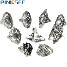 20Pcs Mix style Flower Elegant Alloy Rings Vintage Rings for women Cheap Rings Jewelry Wholesale lots Free SHipping