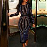 2019 Women Fashion Elegant Black Cocktail Sparkly Dresses Sexy Stripes Contrast Binding Long Sleeve Sequin Midi Party Dress