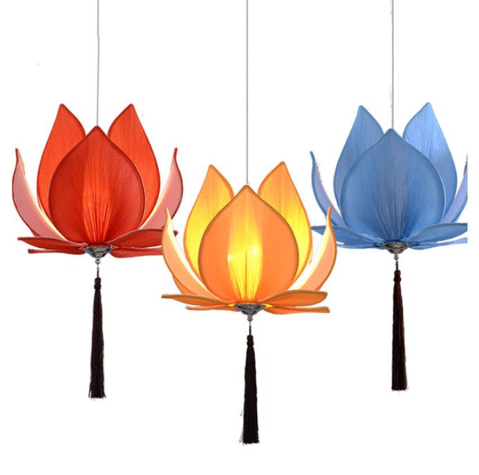 Новинка, китайская тканевая люстра Zen, классическая люстра в виде лотоса, висячьего зала, гостиной, ресторана, освещения