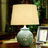 Chinese Style Painting Ceramic Desk Lamp Cozy Creative Living Room Bedroom Bedside Table Lamp Free Shipping