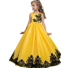 2018 Children Clothes Kids Embroidery Black Lace Fluffy Dress Girls Satin Classic Bright Yellow Princess Dress For Wedding Party(China)