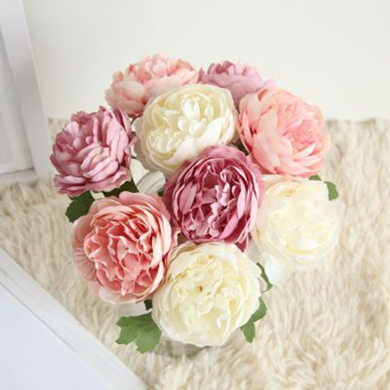 5pcs Single Oil Painting Tea Rose Artificial Flower Pu Big Fower Peony Silk Flowers Wedding Party Home Decor