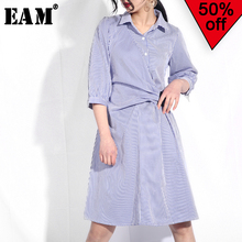 [EAM] 2019 New Spring  Summer Fashion Tide Lapel Blue A-line Half Sleeve Striped Elastic Sashes Simple Wild Woman Dress S26