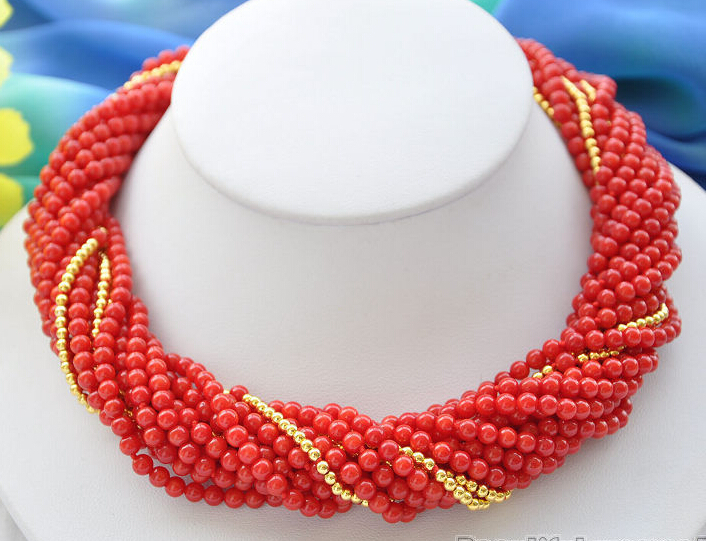 Hot sell ->@@ Hot sale S>>>>>10strands natural 4mm red coral bead NECKLACE 18inch -Top quality free shipping 1000g high quality natural berberis aristata extract powder 6 1 hot sale with free shipping
