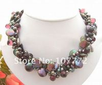 3 strands Black Pearl&Crystal Necklace free shipment
