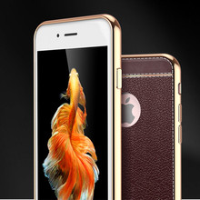 Leather silicone mobile phone case for iPhone 5, 6, 7, X