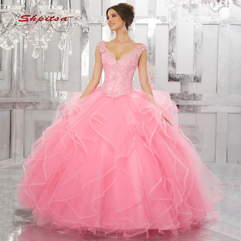 7779e8710959aad Кружево розовые платья Quinceanera бальное платье рюшами блесток тюль  выпускного вечера дебютантка шестнадцать сладкий 16 vestidos de 15 anos