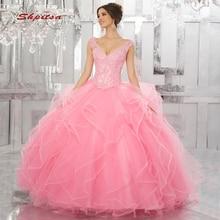 f325c3fde Rosa de encaje vestidos Quinceanera vestido de lentejuelas tul baile de Debutante  16 dulces 16 vestido