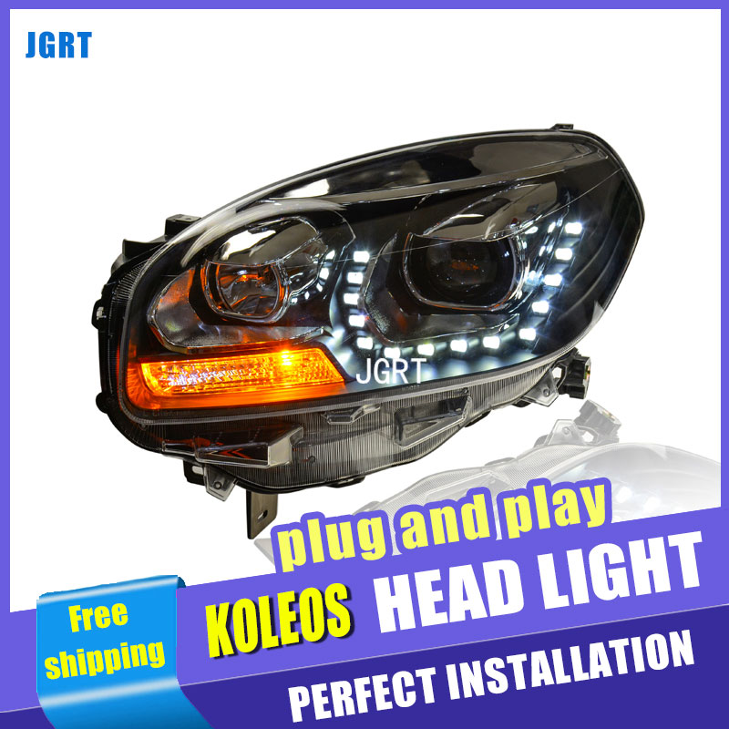 car styling For Renault Koleos headlights U angel eyes DRL 2013For Koleos LED light bar DRL Q5 bi xenon lens h7 xenon for renault koleos hy