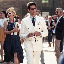 Ivory Casual Men Suits Slim Fit Wedding Tuxedos Double Breasted Groom Wear 2Pcs Bridegroom Groomsman Blazer Costume Homme