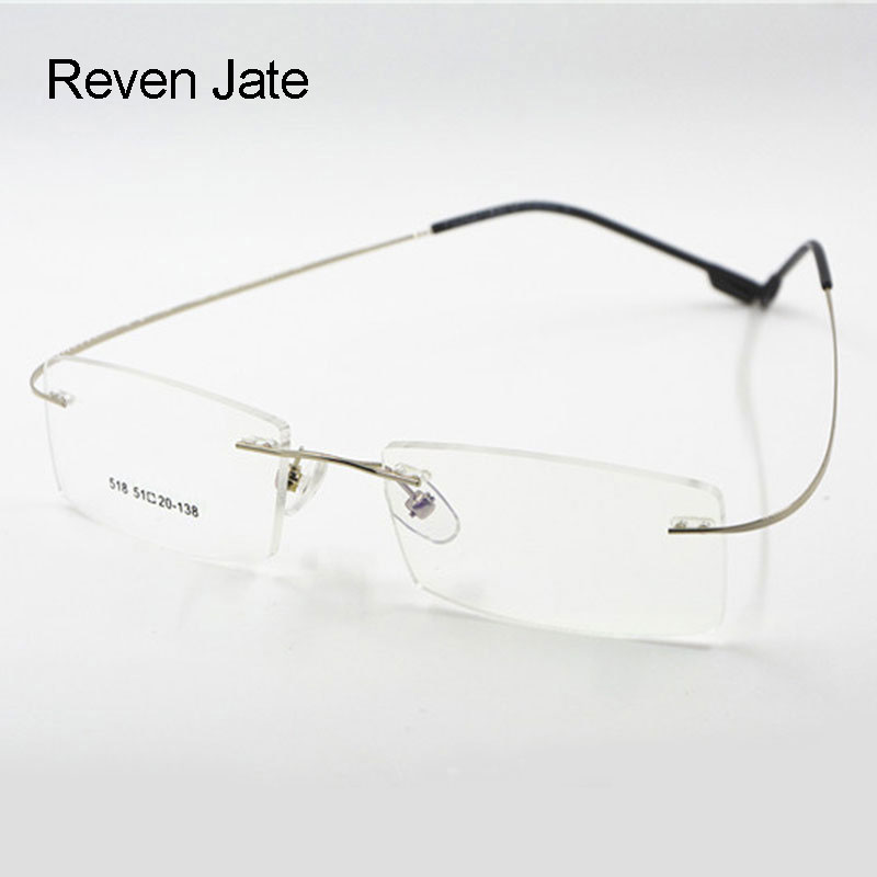 239cdbf7ac5 Reven Jate Flexible Titanium Alloy Rimless Eyeglasses Frame for Optical  Prescription Glasses Eyewear for Women and Men
