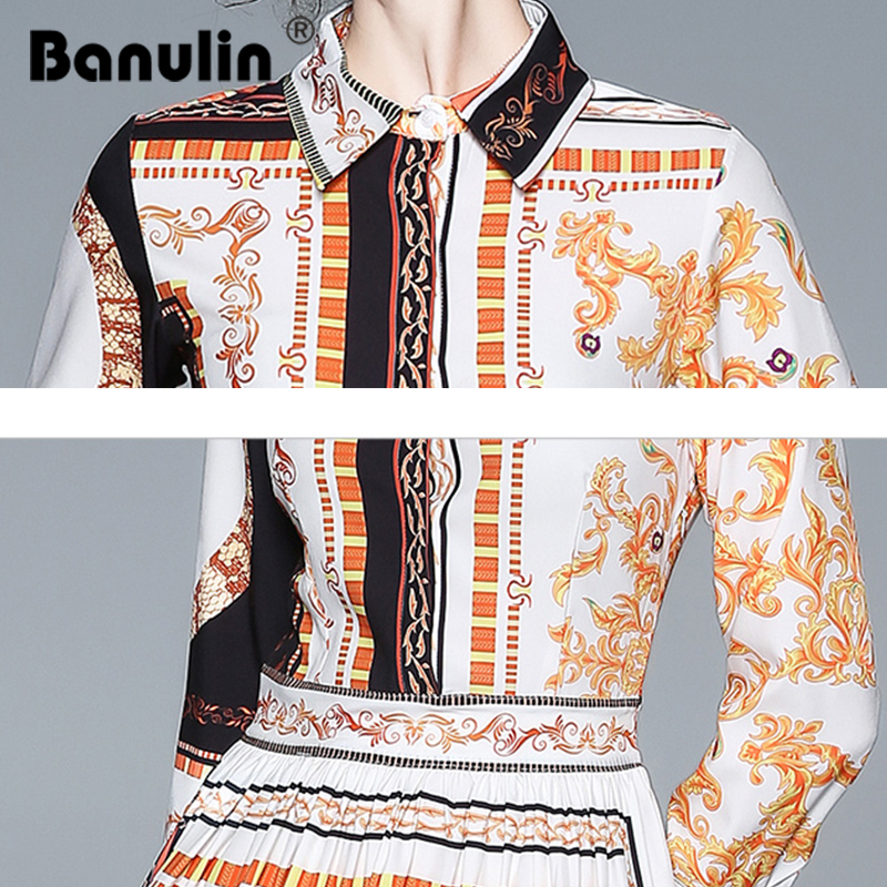 Banulin High Quality Women Runway Designer Dress 2018 Vintage Print Turn down Collar Long Sleeve Slim Waist Knee length Dresses in Dresses from Women 39 s Clothing