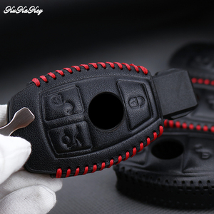 Image 2 - Genuine Leather Remote Keyless Car Key Case Cover For Mercedes Benz W203 W210 W211 AMG C E S CLS CLK CLA Key Shell Bag For Benz