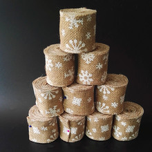 2M Pack Christmas Natural Jute Lace Trim Tape Hessian Burlap Ribbon Wedding Party Strap Birthday Party