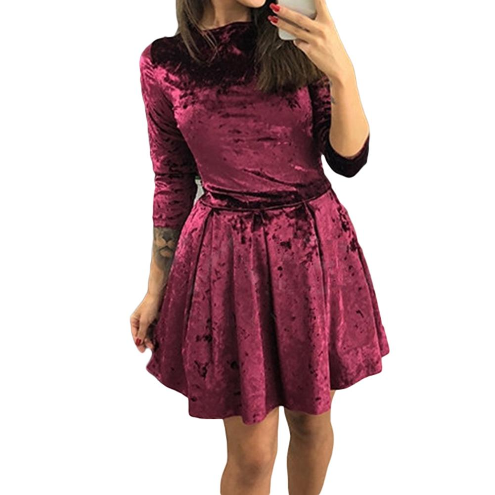 Зимнее вечернее платье с рукавом три четверти, однотонный мятый бархат, мини-платье, новинка
