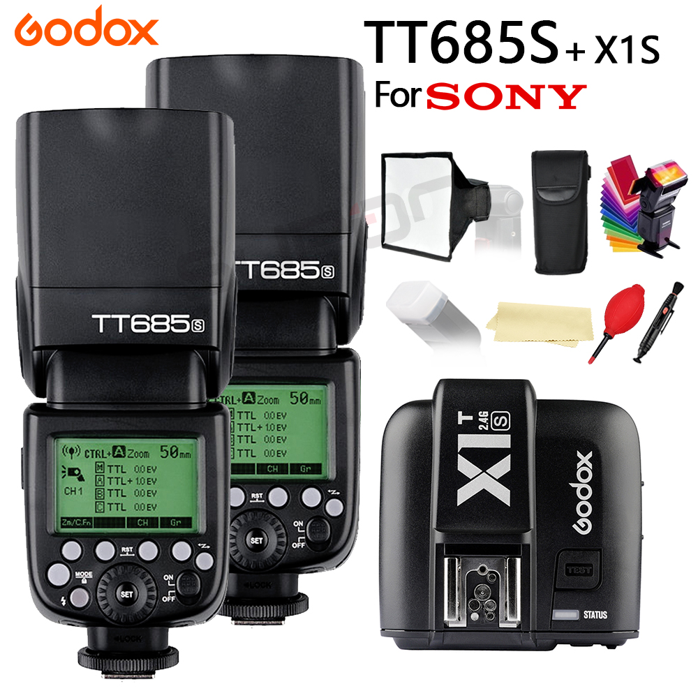 2x Godox TT685 for Sony DSLR Cameras A77II A7RII A7R A58 A97 with 2.4G 1/8000s HSS TTL TT685S Flash + X1T-S + 15*17cm softbox