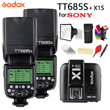 2x Godox TT685 for Sony DSLR Cameras A77II A7RII A7R A58 A97 with 2.4G 1/8000s HSS TTL TT685S Flash + X1T-S + 15*17cm softbox hot sale godox x1t s ttl wireless trigger for sony dslr cameras a77ii a7rii a7r a58 a99 ilce6000l a6300 free gift