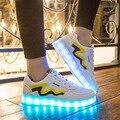 Мужская Обувь со Светодиодными Огнями Мода Привела Обувь Досуг Моделирование Chaussure Femme Usb Кон Лус Cauasl Свет Повседневная Обувь