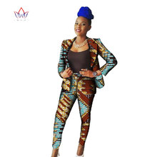 2017 Africa Style Sets Suits for Women Blazers Jackets Two Piece Set Top and Pants Dashiki African Print Clothing 6XL BRW WY595