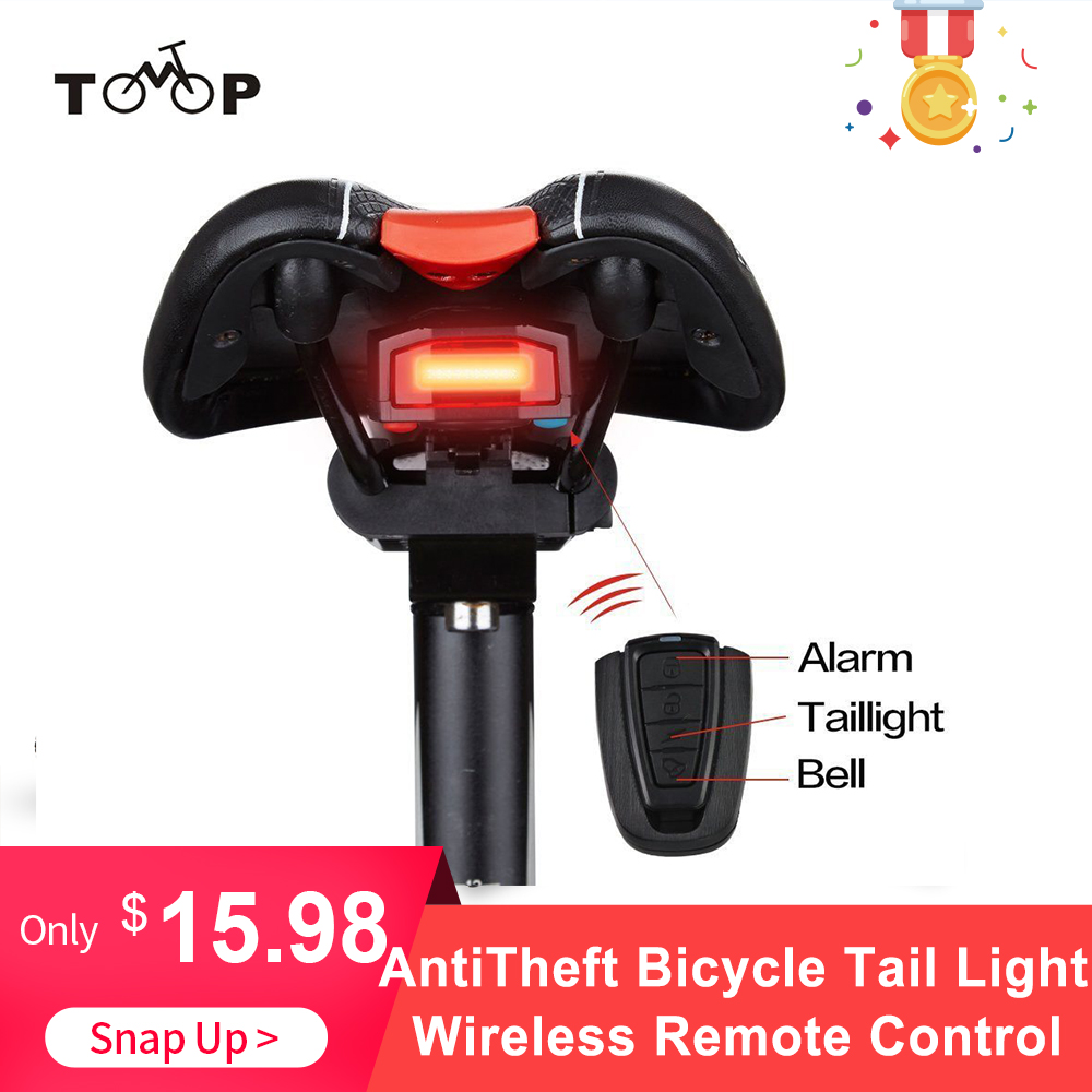 Bike-Finder Horn Led-Tail-Lamp Bicycle Siren-Warning Rear-Light Anti-Theft-Alarm Remote-Control