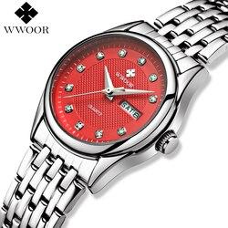 WWOOR Mulheres Relógio Data Relógio de Quartzo Mulheres Relógios de Luxo Da Marca Senhoras de Aço Inoxidável Relógio de Pulso Relogio feminino Prata Vermelho