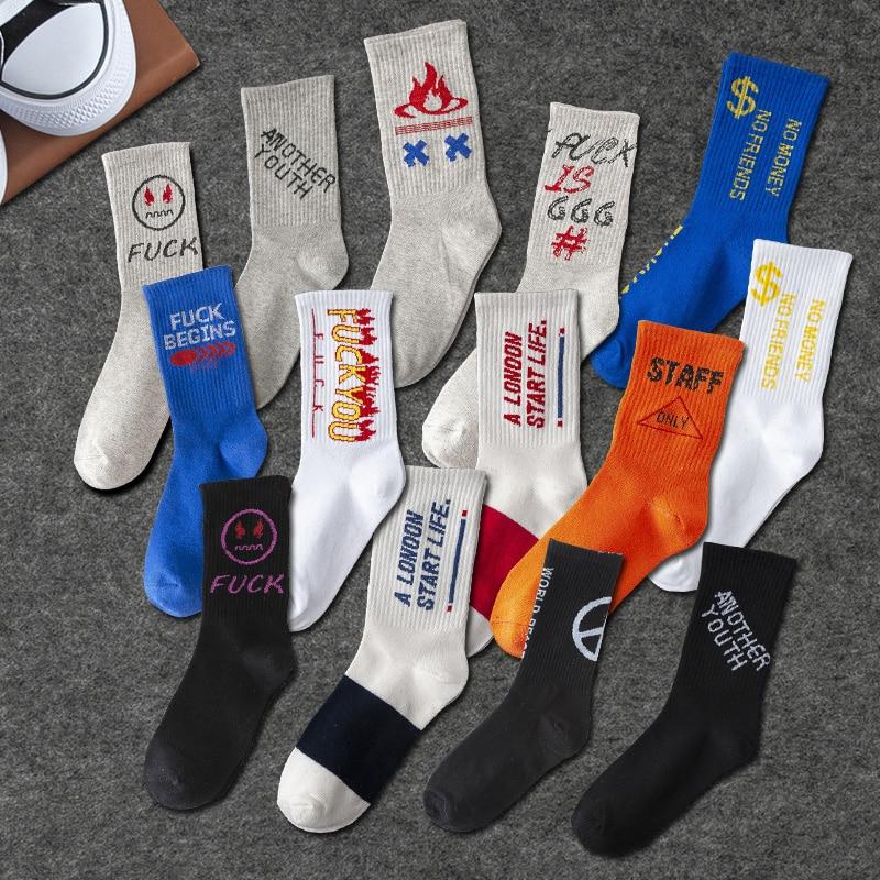 Fashion Solid Color Cotton Men's   Socks   Print Hip Hop Skateboarding   Socks   Men's Meias Street Style Letter   Socks   Men's Calcetines
