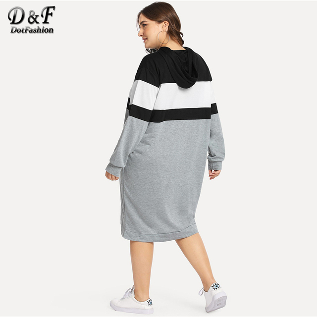 Dotfashion Plus Size Colorblock Drawstring Hooded Sweatshirt Dresses Womens Autumn 2019 Clothing Long Sleeve Knee Length Dress 1