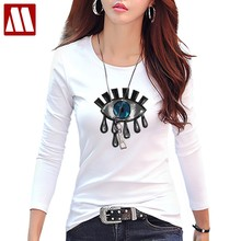 7a1024d1 2018 Sexy Sequins Autumn Fashion Casual Loose Big Eyes paillettes T Shirt  Bar Long Sleeve Design